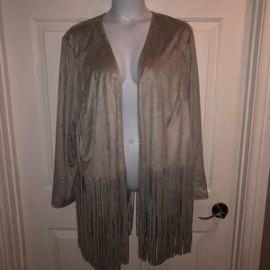 Chico's Crushed Velvet FRINGED Long Cadigan Styled
